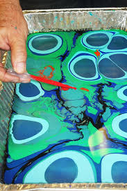 marbling with acrylic paint on fabric dropping paint