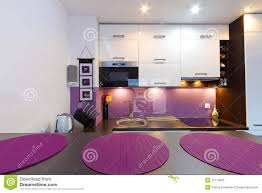 Purple Kitchen Modern Purple Kitchen Interior Royalty Free Stock Photo Image