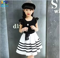 Big <b>Girls</b> Princess <b>Dress 2016</b> Summer New Children Stripe <b>Casual</b> ...