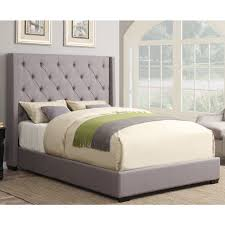 contemporary shelter fabric upholstered bed in ash  humble abode