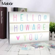 Led Light Box Sign Us 3 29 9 Off 85pcs Lot Cinema Light Box Letters For The A4 Cinema Light Box Black Colorful Letters Signs Cards For Diy Bar Home Xmas Decor In Led