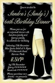 Dinner Invation Details About 60th Birthday Party Invitation Gold Champagne Birthday Dinner Invite