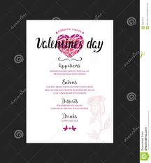 dinner template menu template for valentine day dinner stock vector