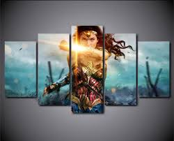 5piece wall picture wonder woman painting gal gadot movie posters canvas prints modular pictures home decor on wonder woman canvas wall art with 5piece wall picture wonder woman painting gal gadot movie posters
