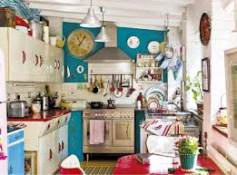 Retro Kitchens For Red And Blue Retro Kitchen Interiors By Color