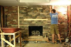 refacing a brick fireplace with stone veneer reface brick fireplace basement