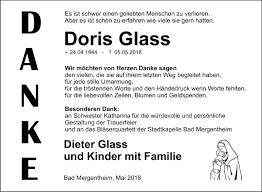 Traueranzeigen von Doris Glass | Trauerportal Ihrer Tageszeitung