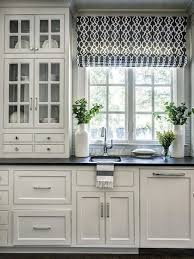 kitchen window ideas, window curtains, roman blinds, like the upper cabinets