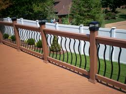 amusing exterior ideas with wood decks and deck railing designs also landscape with fence ideas