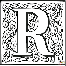 the letter r with ornament coloring