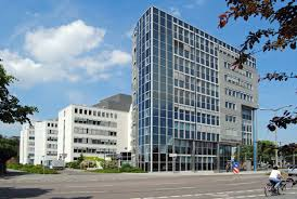 modern architecture. View Of The Technical Town Hall On Prager Straße, Architecture In Leipzig, Culture Modern