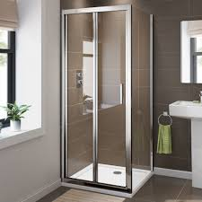 modern easy clean bi fold shower enclosure door glass screen door panel tray