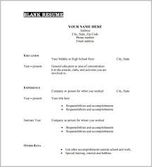 Blank Resume Template Enchanting Free Printable Resume Template Blank Examples Intended For Templates