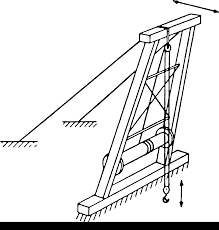 The load is raised and lowered by ropes through a sheave or block secured to the top crosspiece