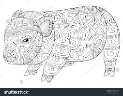 Adult Coloring Bookpage Cute Little Pig Stock Vector Royalty Free