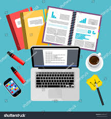 designer office desk isolated objects top view. modern business office and workspace background vector illustration top view of desk with designer isolated objects