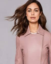 ted baker dusky pink jackets womens lizia leather biker jacket