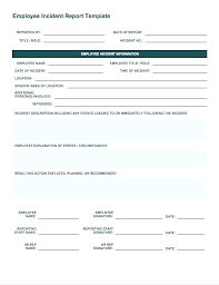 Hr Report Template Employee Incident Monthly Format In Excel