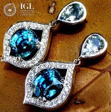 9 75ct natural cambodian blue zircon aqamarine and white diamond 18k gold dangle drop earrings