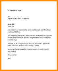 Accepting Job Offer Email Example Acceptance Thank You Rate Letter