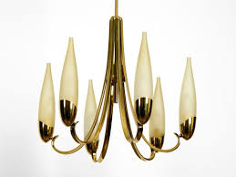 mid century modern brass chandelier with long glass shades 2