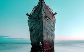 bh29-boat-ship-sea-blue-art-old-wallpaper