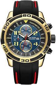 Megir Men's Chronograph Quartz Watches Fashion <b>Silicone Strap</b> ...