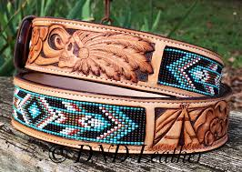 custom beaded belt with the indian scull
