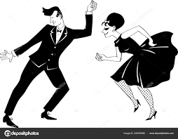 Young Couple Dressed 1960s Fashion Dancing Retro Style Eps Vector