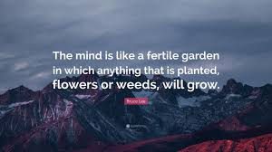 fertile garden. Bruce Lee Quote: \u201cThe Mind Is Like A Fertile Garden In Which Anything That G