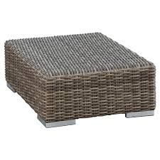 Round Wicker Ottoman Cushions Outdoor Coffee Table faedaworks
