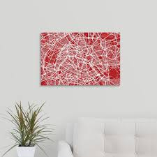 greatbigcanvas art map of paris in red by michael tompsett canvas wall art