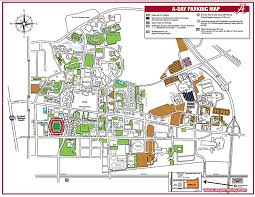Alabama Campus Parking Map For The 2016 A Day Game On Saturday