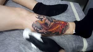 татуировка на ноге в японском стиле карп кои результат