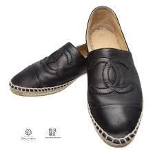 chanel espadrille leather black 36 around 23cm slip ons flattie here mark