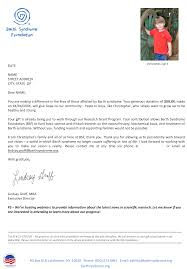 Barth Syndrome Foundation Thank You Letter Before And After