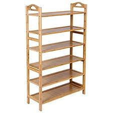 SONGMICS Bamboo 6-Tier Shoe Rack 18-24 Pairs Entryway Shoe Shelf Storage  Organizer