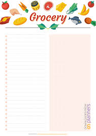 Grocery Lsit Download Printable Simple Colourful Grocery List Pdf