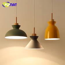 fumat wood colorful aluminum lamp shade modern pendant lights lamparas fashion dining room lights longree pendant