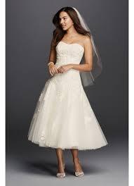 oleg cassini tea length wedding dress with lace david s bridal