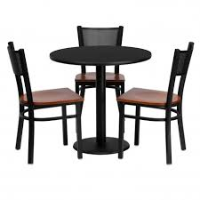 30 round black laminate table set with 3 grid back metal chairs cherry wood seat