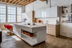 modern white kitchen island with open shelving red stools electric stove oak wood cabinet lacquered wall cabinet microwaves and ovens stainless steel sink