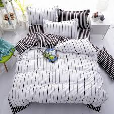 fashion new black white grey classic bedding set striped duvet cover white bed linen set geometric flat sheet queen bed kid bedding bedding sheets from