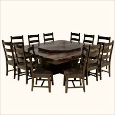 modern pioneer solid wood lazy susan pedestal dining table 12 chairs