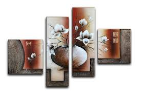 dining room wall art amazon. wieco art large size decorative elegant flowers 4 panels 100% hand-painted modern contemporary artwork floral oil paintings on canvas wall for home dining room amazon m