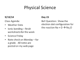 Physical Science Bell Work - ppt video online download