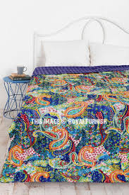 queen size blue multicolor paisley kantha quilt blanket bedding royalfurnish com
