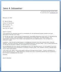 Cover Letter Sample For Fresher Mechanical Engineer Cover Letter