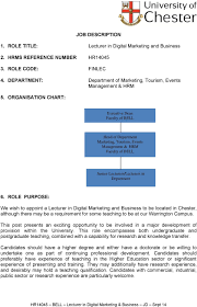 Department Of Tourism Organizational Chart Job Description 1 Role Title Lecturer In Digital