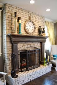 living room white brick fireplace how to paint brick best classic armchair wooden chair vase and flowers decor white brick ideas hardwood flooring modern